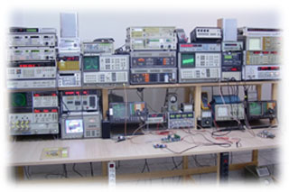 messy test equipment bench